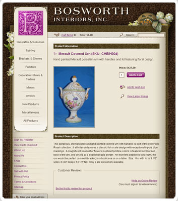 screenshot of the Bosworth Interiors, Inc. website