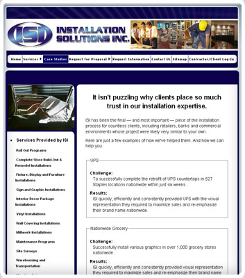 screenshot of the Installation Solutions, Inc. website